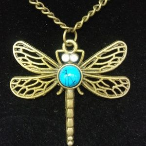 Jewelry - Bronze Dragonfly Turquoise Pullover Necklace